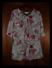 Très Beau/T-Shirt Voile Doublé/Gris/Fleuri/Vieux Rose/Chic/Mode, 46/48