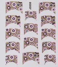 Nail Art Decal Stickers Glitter Nail Tips Pink Gold & Black Dots JC030