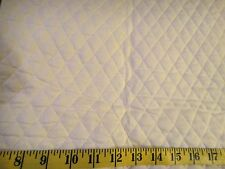 """Solid White QUILTED FABRIC Double Sided 1"""" Diamond Pattern BTY"""