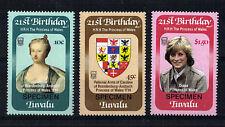 TUVALU 1982 PRINCESS DIANA 21st SET 3 OVERPRINTED SPECIMEN MNH