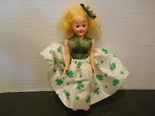 "VTG Hard Plastic Doll 7"" Small  Blonde Hair Jointed Arms Irish Clover Shamrock"
