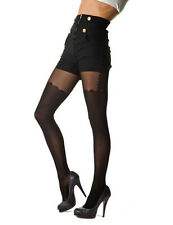 Mock Stocking And Suspender Tights With Scalloped Top