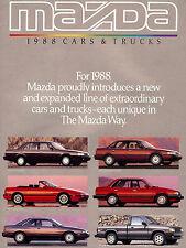 1988 MAZDA BROCHURE -RX7 CONVERTIBLE-MX6-626-323-B2200-B2600 PICKUP