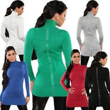 Feine Damen-Pullover & Strickware mit Rollkragen ohne Muster und Reißverschluss