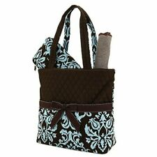 Quilted Damask Diaper Bag Brown Blue Changing Pad Zippered Pouch 3 Piece Set NWT
