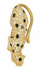 Kenneth Jay Lane KJL style Crawling Leopard Cat Brooch Pin Fur Clip Gold Black