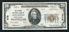 1929 $20 Tyii The Second Nb Of Titusville, Pa National Currency Ch. #879 Xf+