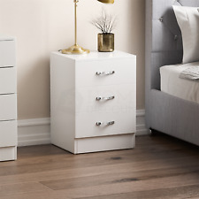 Riano Bedside Cabinet Chest Of Drawers White 3 Drawer Metal Handles Runners