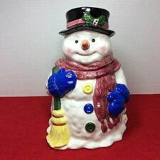 Rare LINENS-N-THINGS Handpainted Christmas Snowman Cookie Jar ~ HTF ~ ON SALE!!!