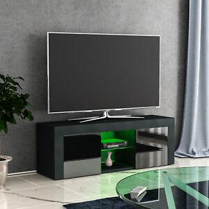 Eclipse LED TV Stand Cabinet Unit 2 Door Modern Matte Gloss MDF Furniture Black