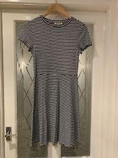 M&S Limited Edition Size 10 Swing Dress Black & Ivory White Stripes Mini