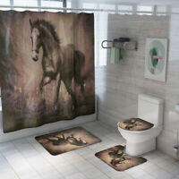 War Horse Shower Curtain Set Bathroom Rug Skidproof Toilet Lid Cover Bath Mat