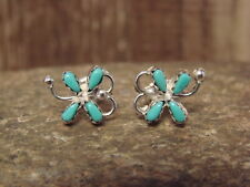 Zuni Indian Sterling Silver Turquoise Dragonfly Post Earrings by C. Cachini