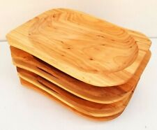 "Wooden plate set of six 9.8"" long medieval serving plate  alder wood medium size"