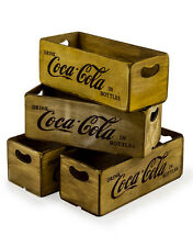 Set of 4 Antiqued Coca Cola Wooden Boxes