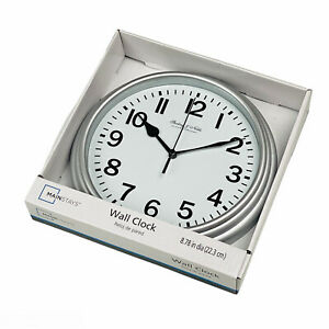 Silver Round Battery Operated Kitchen Wall Clock