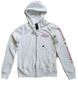 Hollister Abercrombie Womens Logo Graphic Full Zip Hoodie White Pink XS NWT GIft