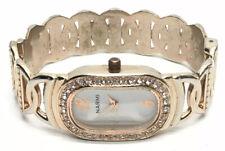 Narmi Ladies Rhinestone Rose Gold Tone Bangle Wrist Watch Cuff