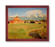 Historic Old Wood Barn In The Grand Teton Landscape Cherry Framed Art Print