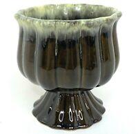 Vintage Hull USA Pottery F88 Olive Green Drip Glaze Pedestal Planter Flower Pot