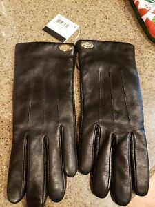 New Woman's Coach soft Black Leather Gloves F85876 Size 7 NWT