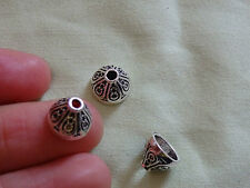 10 deep  bead caps tibetan tibet silver antique vintage tone wholesale bulk uk