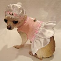 Dog HARNESS DRESS/DOG DRESS/DOG CLOTHES/-XS,S,M,L PINK PARFAIT SET-FREE SHIPPING