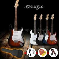Beginners ST Electric Guitar w/ Gig Bag Pick Strap Accessories 4 Colors US Stock