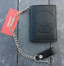 Wallet Leather with Chain Pattern Skull Skull