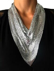 Nataliya Silver Metal Mesh Statement Necklace