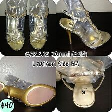 BAKERS Tammi Leather/Crystal Sandals (Gold), US 8 fits 7.5