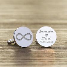 Personalised Infinity Cufflinks Wedding Husband Boyfriend Groom Anniversary Gift