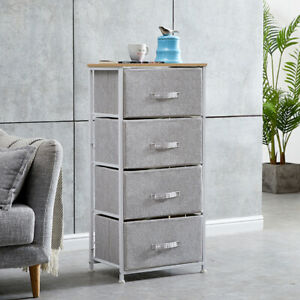 Fabric Bedside Cabinet Table Storage Unit Metal Frame Organiser Chest of Drawers