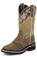 New Women's Justin Boots Gypsy Floral Embroidered- Square Toe L9951 Size 9