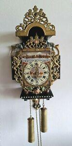 Warmink Dutch Wall Clock Stoelklok Chair Clock Folklore Painted Dial 8 Day