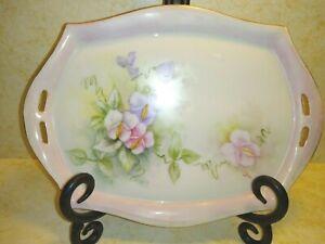 Vintage Antique Bavaria? Porcelain Floral Signed Dual-Handle Oblong Vanity Tray