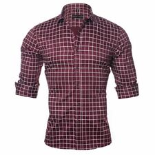Slim Masculine Shirts For Men Casual Suit Wear Plaid Fashion Clothes Male Attire
