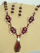 Crystal Pendant & beads on hand-made Chain Maille Necklace/Earring Set