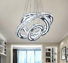 LED Crystal Chandelier 3 Ring Modern Adjustable Pendant Lighting for Dining Area