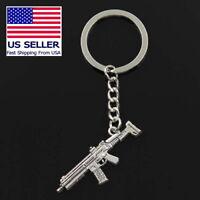 Machine Gun Model ACR HK Keychain Rifle Silver Metal Keyring Key Ring Chain Gift