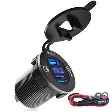 Mictuning Qc 3.0 Car Charger Dual Usb 12V-24V 36W Waterproof Aluminum Voltmeter