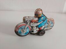 Tin toy friction police motorcycle car Japan Vintage 1960's