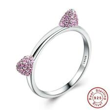 New! Solid 925 Sterling silver Cat Kitty Ears Ring size N 17 mm + Gift bag