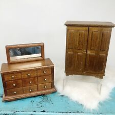 Concord Miniatures Doll House Furniture Set of 2 Armoire & Dresser w/Mirror