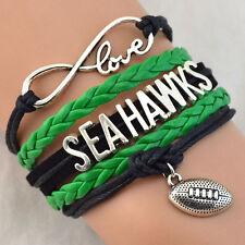 Seattle Seahawks Infinity Wristlet American Football Sport Charm Bracelet