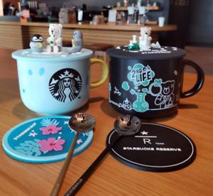 New Starbucks Bear Coffee Mugs W/ Animal Silicone Lid Cups Spoon Coaster Suits