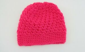 Itzy Bitzy Baby Girls Beanie Hat Size Small Pink Crochet #33