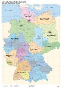 Politische Verwaltungskarte Deutschland, Poster, gerollt, Wandkarte in B1, neu