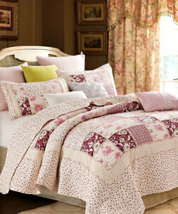 ENGLISH GARDEN Full Queen QUILT SET : COTTAGE PINK ROSE SHABBY RUFFLED RAG