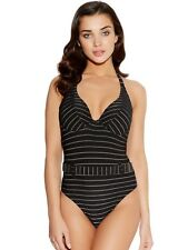FREYA ROCK THE BEACH BLACK & GOLD UNDERWIRE PADDED HALTER SWIMSUIT SIZE 30F / 8F